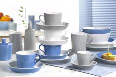 Geschirr Tric weiss/blau/grau
