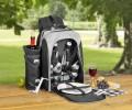 23-tlg. Picknickrucksack FREETIME Farbe: schwarz/grau, best. aus: 1 abnehmbaren Flaschenhalter, Besteck aus Edelstahl poliert