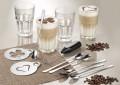 13-teiliges Cappuccino Set CREAMY bestehend aus: 4 Longdrinkbechern GRANITY 0,35 Ltr 6 Langstiel-Löffel aus Edelstahl, poliert,