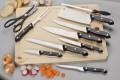 11-tlg. Messerset JUPITER, inkl. Schneidbrett, schwarze Griffschalen aus PP-Plastik mit 3 aufgesetzten Nieten, Klingen aus Spezialstahl
