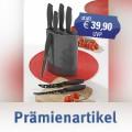 7-teiliges Messerset ALPHA  Klingen aus hochwertigem Edelstahl mit  schwarzer Antihaftbeschichtung, Soft-Touch Griffe.