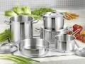 Bartscher 9-teiliges Kochtopf-Set CÄSAR, Material: Chrom-Nickel-Edelstahl 18/10 Mit Schüttrand und Kaltgriffen