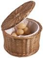 Eierkorb aus dunkler Vollweide, innen gepolstert mit Synthetikstoff Durchmesser: 26 cm,  Höhe: 17 cm