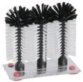 Gläserbürsten schwarze und weiße Borsten aus Polypropylen, auf Aluminiumplatte 19 x 10 cm,  mit 4 Saugfüßen Durchmesser Bürste: 7 cm, Höhe: