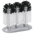 Gläserbürsten schwarze und weiße Borsten aus Nylon, auf großer Saugplatte, dadurch  besonders hohe Standfestigkeit  Durchmesser