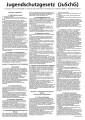 Jugendschutzgesetz in der aktuellen Fassung, alle aushangpflichtigen Paragraphen  sowie  1 und 2, schwarzer Siebdruck auf 1 mm