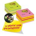 Post-it® Haftnotizwürfel Promotion 76 x 45 x 76  mm (B x H x T) neonpink, neongrün, neonblau,  rosa, gelb 450 Bl./Block
