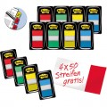 Post-it® Haftstreifen Index Standard Promotion  25,4 x 43,2 mm (B x H) rot, gelb, blau, grün 50  Bl./Block 12 Block/Pack.