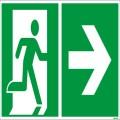 Hinweisschild Rettungsweg 30 x 15 cm (B x H)  Rettungsweg rechts PVC-Folie