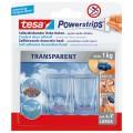 tesa Haken Powerstrips transparent XL  rechteckig 1kg mehrfach verwendbar UV-beständig  transparent 2 St./Pack.