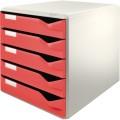 Leitz Schubladenbox DIN A4 Polystyrol  Gehäusefarbe: lichtgrau Farbe der Schublade: rot  5 Schubfächer