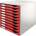 Leitz Schubladenbox DIN A4 Polystyrol  Gehäusefarbe: lichtgrau Farbe der Schublade: rot  10 Schubfächer