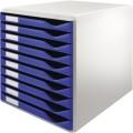 Leitz Schubladenbox DIN A4 Polystyrol  Gehäusefarbe: lichtgrau Farbe der Schublade: blau  10 Schubfächer