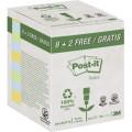 Post-it® Haftnotiz Recycling Notes 76 x 76 mm (B  x H) bananengelb, hellblau, hellgrün 100  Bl./Block 10 Block/Pack.