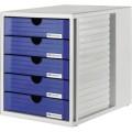 HAN Schubladenbox Systembox DIN C4 Polystyrol  Gehäusefarbe: lichtgrau Farbe der Schublade: blau  5 Schubfächer