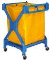 Wäschewagen. Kunststoff. 4 schwenkbare Rollen Ø  7,5 cm, platzsparend zusammenklappbar.