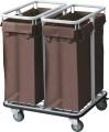 Wäschewagen. pulverbeschichteter Stahl. 2 schwenkbare Rollen Ø 9,5 cm und 2 Bockrollen,
