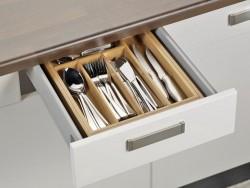 variabler Besteckkasten SIMON aus Bambusholz, passend f�r alle handels�blichen Schubladen, ausziehbar von ca. 28,5 auf ca. 40,0 cm,
