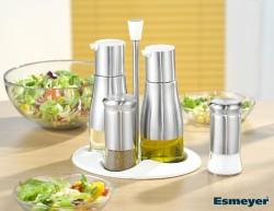 5-teilige Menage BELLE aus Edelstahl, Glas und Kunststoff, Set beinhaltet je einen �l- und Essigspender