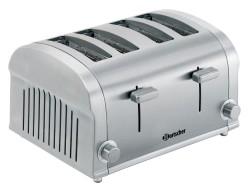 Bartscher 4 Scheiben Toaster SILVERLINE, aus Edelstahl, mit 2 unabh�ngigen Schlitzen, Breite: 320 mm, Tiefe: 270 mm, H�he: 195 mm