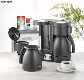 Kaffeemaschine Krups Duothek Therm Farbe: schwarz seiden-matt Maße: Breite 35 cm - Tiefe 21 cm - Höhe 31,5 cm