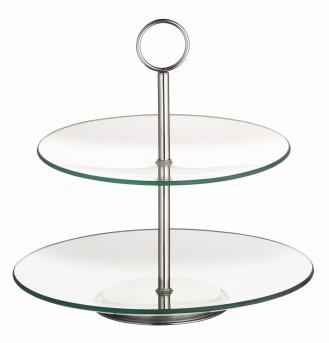 2-stufige Etagere COOKIE,  aus transparentem Glas,  Durchmesser: unten 250 mm, oben 210 mm,