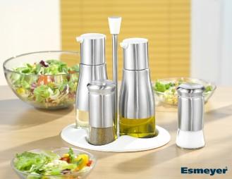 5-teilige Menage BELLE aus Edelstahl, Glas und Kunststoff, Set beinhaltet je einen Öl- und Essigspender