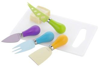 5-teiliges Käsemesser Set LOUISE aus Edelstahl 18/0 mit bunter Antihaft- Beschichtung, Griffe aus farbigem Kunststoff,