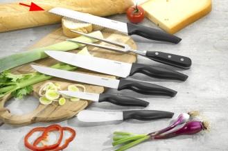 Brotmesser MOON Klinge aus Spezialstahl, schwarzer PP-Kunststoff- Griff, Klingenstärke: 2.2 mm, an Hängekarte