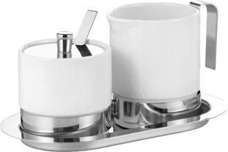 4-tlg. Zucker- und Sahneset ADAM,  aus weißem Porzellan und Edelstahl.