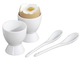 4-tlg. Frühstücksei-Set FACET,  aus weißem Porzellan,  bestehend aus 2 Eierbechern und 2 Eierlöffeln.