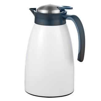Isolierkanne GLACE, Inhalt: 1,5 Liter, doppelwandiger Edelstahl, weiß lackiert, Höhe: 24,3 cm, Durchmesser: 13,5 cm.