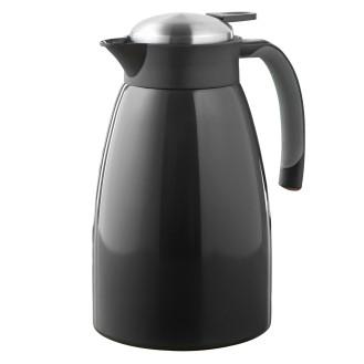 Isolierkanne GLACE, Inhalt 1,5 Liter, doppelwandiger Edelstahl, schwarz lackiert, Höhe: 24,3 cm, Durchmesser: 13,5 cm.