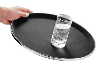Antirutsch-Tablett TENNESSEE,  Boden aus Fiberglas, Oberfläche aus Gummi,  mit Edelstahlapplikation,
