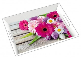 Tablett LAUSANNE, aus Melamin, mit Druck Gerbera Maße: 49,5 x 35 x 5 cm