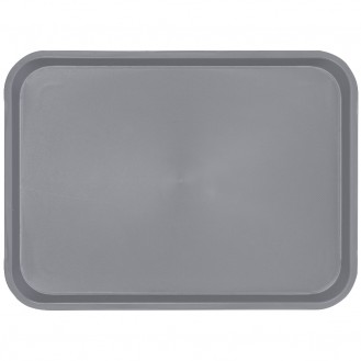 """Serviertablett """"OHIO"""", aus Kunststoff, Grau, rechteckig, Maße: ca. 41,5 x 30,5 cm, Höhe 2 cm, mit gummierter Oberfläche für einen sicheren Stand"""