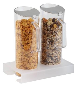 Cerealien-Bar Lucky 3-tlg. 1 Ständer, Plexiglas gefrostet ca. 26 x 16,5 cm, Höhe 4 cm