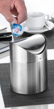 Tischabfallbeh�lter SWING mit Schwingdeckel, Material: Edelstahl 18/10, matt und geb�rstet  H�he: 150 mm, Durchmesser: 120 mm,