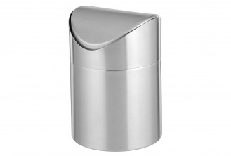 Tischabfallbehälter SWING mit Schwingdeckel, Material: Edelstahl 18/10, matt und gebürstet,  Höhe: 150 mm, Durchmesser: 120 mm,