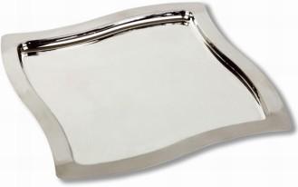 Tablett SWING, quadratisch, aus 18/0 Edelstahl, Höhe: 1 cm, Länge 32,5 cm, Breite 32,5 cm, Rand mattiert, innen hochglanzpoliert