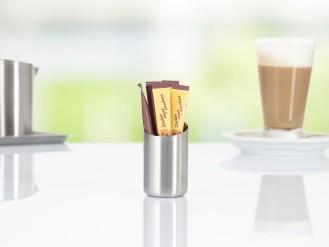 Zuckerstickhalter VISTA, Edelstahl 18/10, Durchmesser: 45 mm, Höhe: 70 mm, mit gebürsteter Oberfläche, im Geschenkkarton