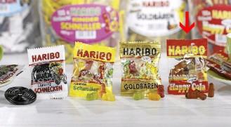 Haribo Happy Cola, Inhalt: 100 Minibeutel à 10 g je Runddose.