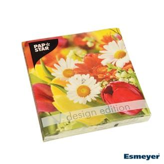PAPSTAR 20 Servietten, 3-lagig Design Edition  1/4-Falz 33 cm x 33 cm, FUNKY Flower Power
