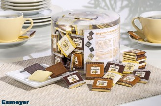 Hellma Belgische Schokoladen-Täfelchen, Inhalt: 165 Stück à 4,5 g je Runddose.