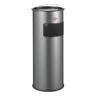 Wesco Standascher CARL mit Sieb und herausnehmbaren Aschereinsatz aus Aluminium, Farbe: silber, mit 24 Liter Metalleinsatz.