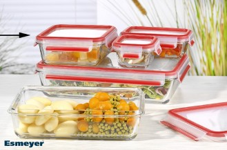 Emsa Clip  Close Glas Frischhaltedose Inhalt: 0,9 Liter, quadratisch Maße: 175 x 175 x 68 mm