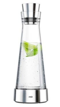 Emsa Kühlkaraffe SLIM FLOW, Inhalt: 1,0 Liter, Höhe: 38,2 cm aus Glas, spülmaschinengeeignet.