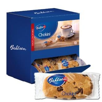 Bahlsen CHOKINI,  Inhalt: ca. 150 Stück à 6 g je Spenderbox, Gebäck mit Schokoladen-Stückchen und Orangenaroma,