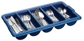 Besteckbehälter mit 5 Mulden LxBxH: 54 x 32,5 x 8,5 cm aus dunkelblauem PP-Kunststoff