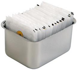 Zuckertütenbox oder Teebeutelablage TOM, Material: Edelstahl 18/10, Länge: 90 mm, Breite: 50 mm, Höhe: 75 mm.